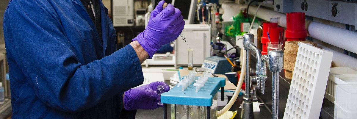 closeup of someone working with samples in a lab
