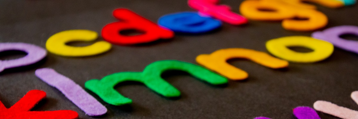 close up of alphabet felt