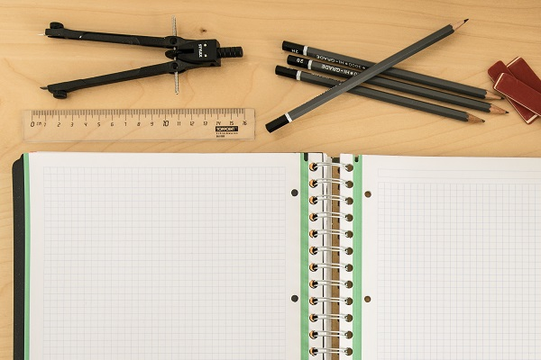 math compass, ruler and pencils on a desk