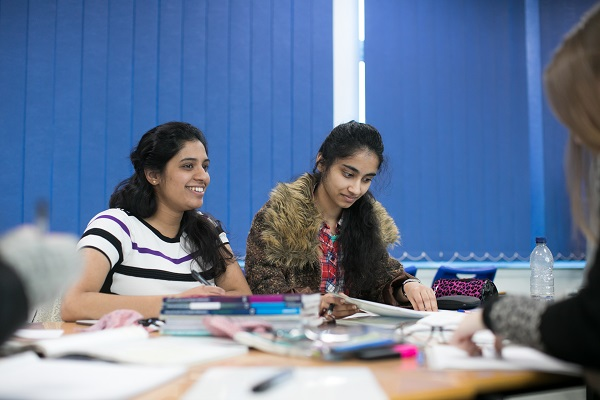 two female students in maths class