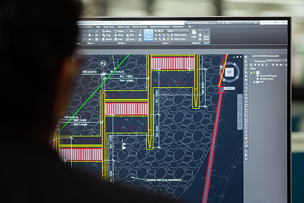 computer designs on a computer screen