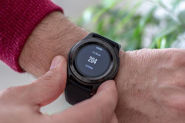 closeup of a fitness watch
