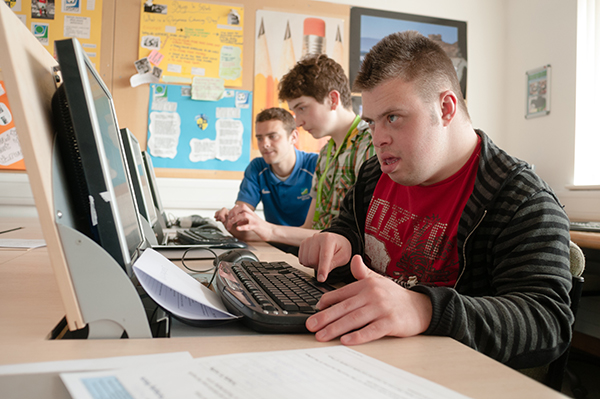 vocational studies student at a computer