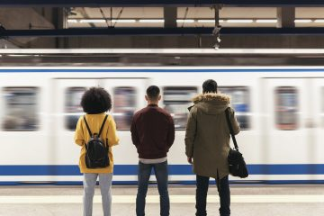 Students waiting for train