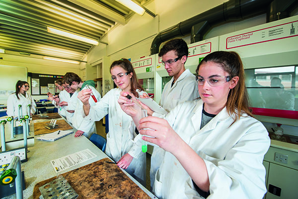 students in lab coats working with chemicals