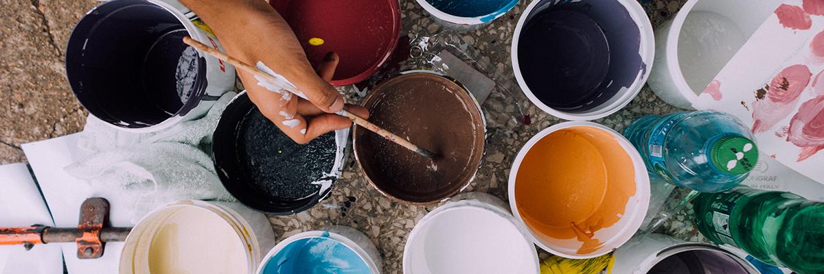 pots of different coloured paint