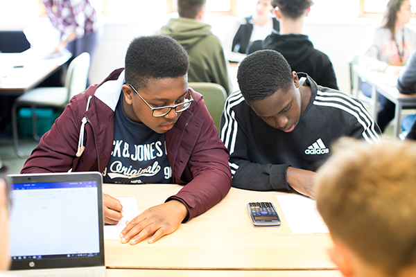 two students working together with a calculator