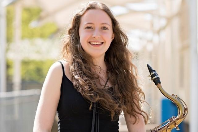 Ellen Drewe with musical instrument