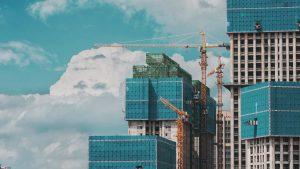 skyline of construction site