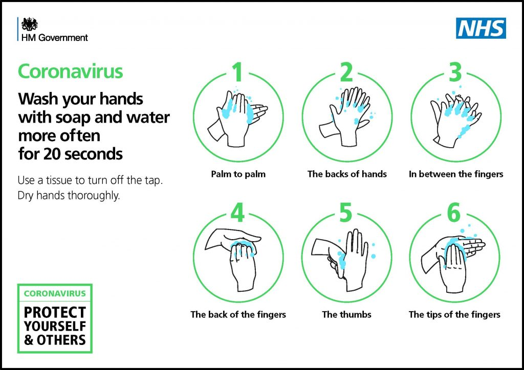 Coronavirus poster on washing hands guidance