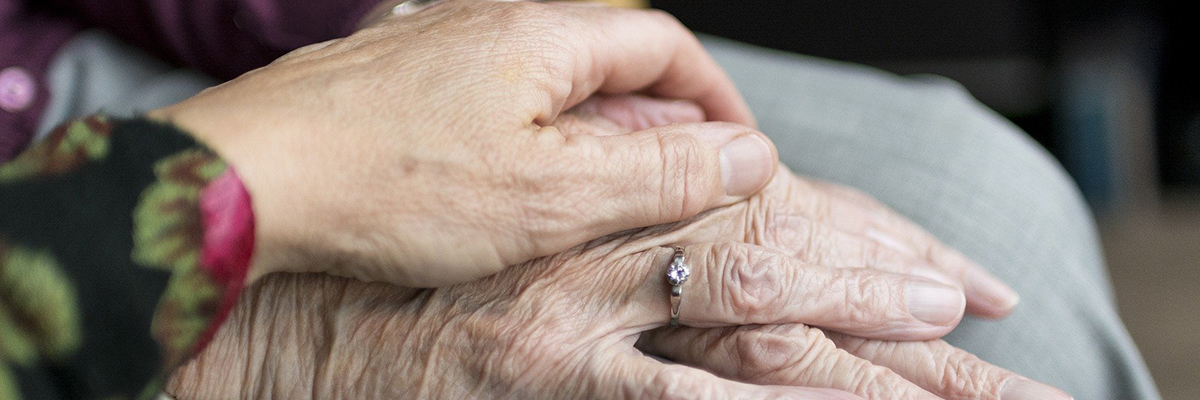close up of elderly persons hands