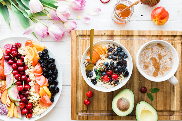 a table of healthy foods