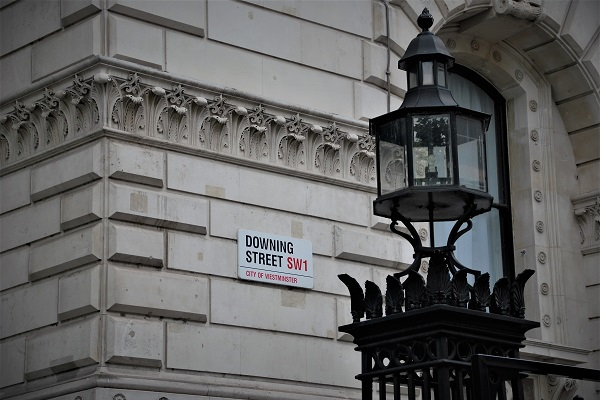 downing street corner sign