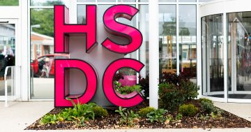 The HSDC logo outside the front of havant campus showing our logo to the community