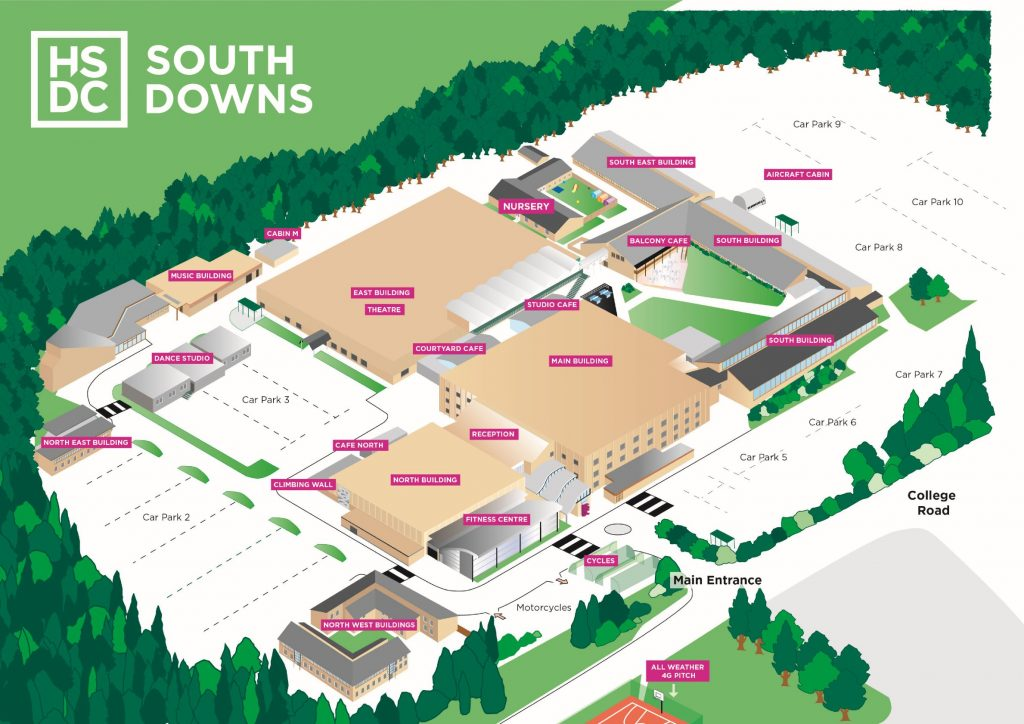map of south downs campus