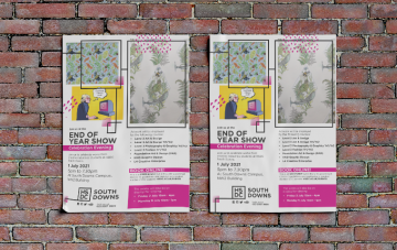 brick wall with two event posters on it